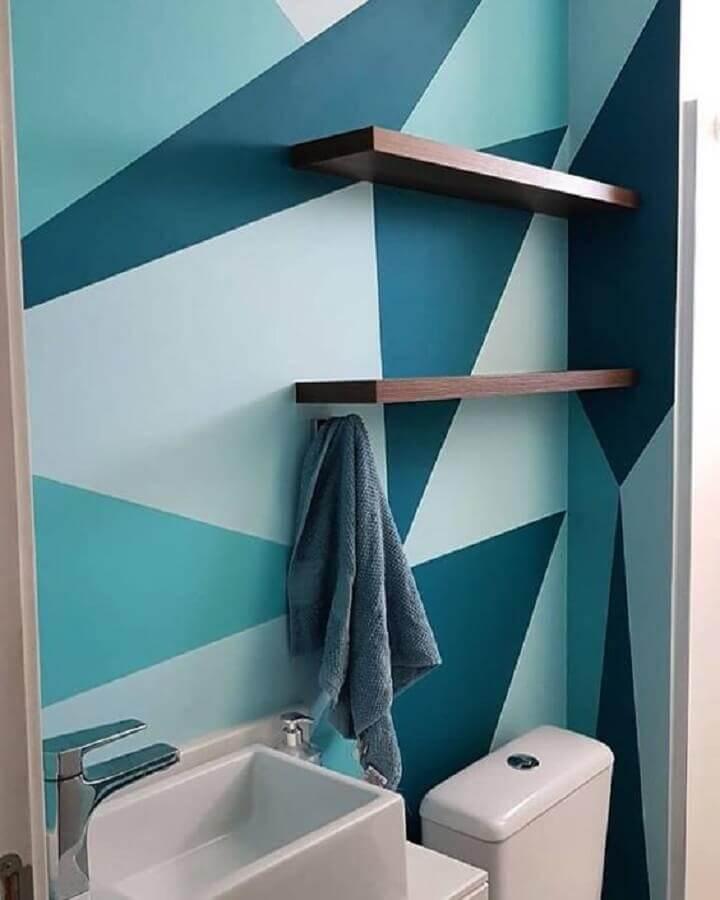 parede com formas geométricas para decoração de banheiro  Foto Dcore Você