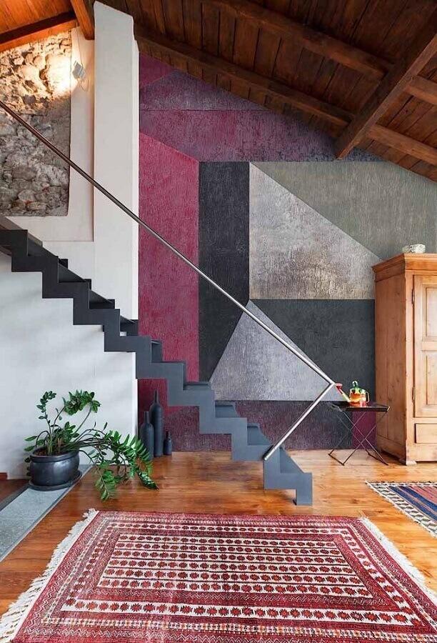 parede com formas geométricas para decoração de casa moderna  Foto Eduardo Cavalcanti Castro