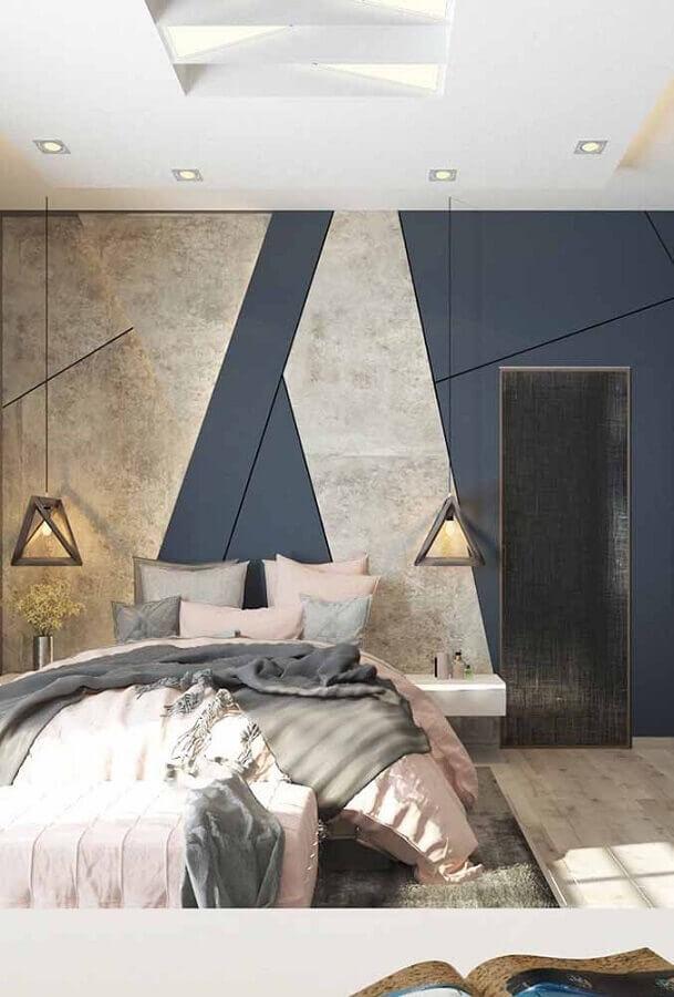 parede com formas geométricas para decoração de quarto de casal moderno  Foto Pinterest