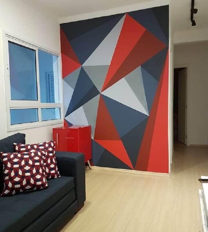 parede com formas geométricas para decoração de sala simples  Foto Deavita
