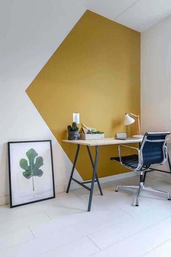 parede geométrica para decoração de home office simples e minimalista Foto Pinterest