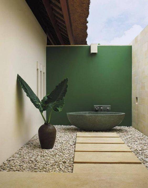 Jardim com pedras seixos