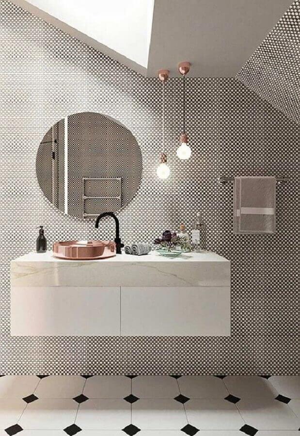 pendente para bancada de banheiro moderno com cuba rose gold para gabinete suspenso  Foto Futurist Architecture
