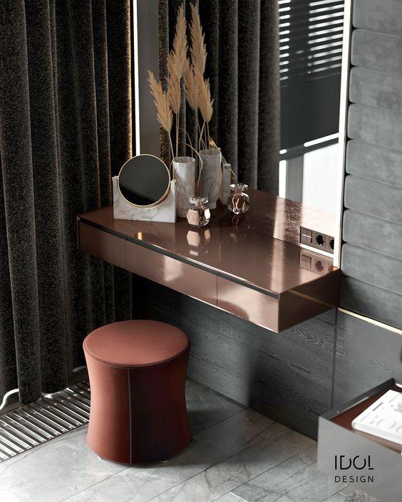 Penteadeira suspensa cobre com espelho moderno