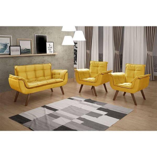 Conjunto para sala de estar com poltrona opala amarela