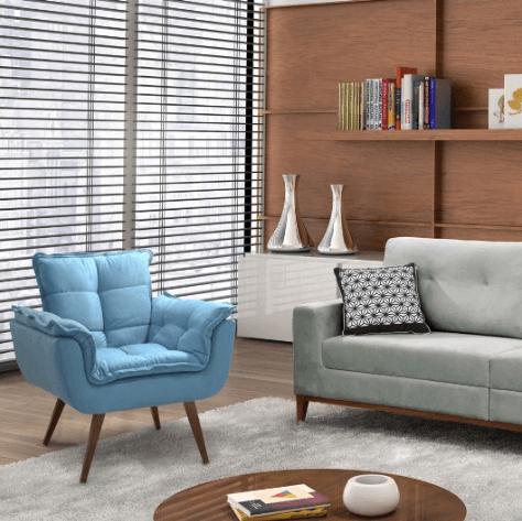 Poltrona opala azul na decoração da sala de estar