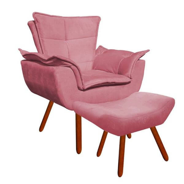 Poltrona opala com rosa
