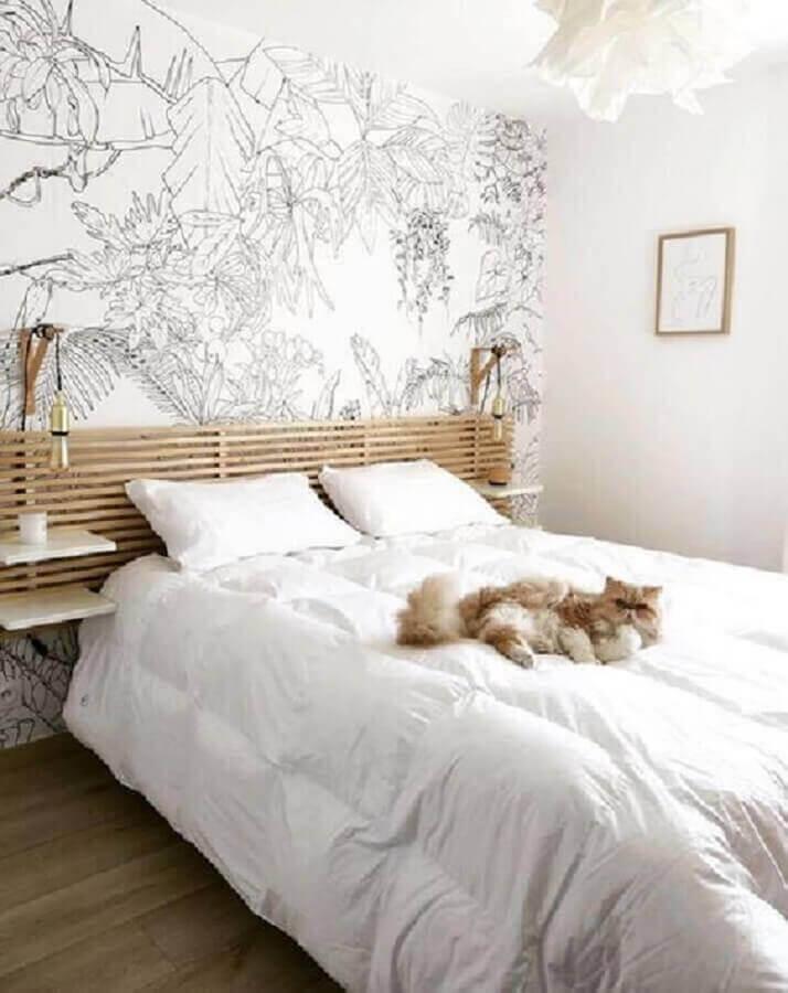 quarto branco decorado com luminárias para cabeceiras de camas  de madeira  Foto Pinterest