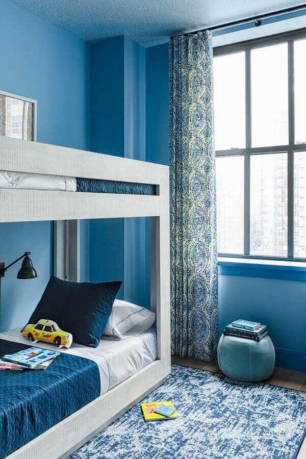 quarto de solteiro pequeno azul decorado com beliche Foto Houzz