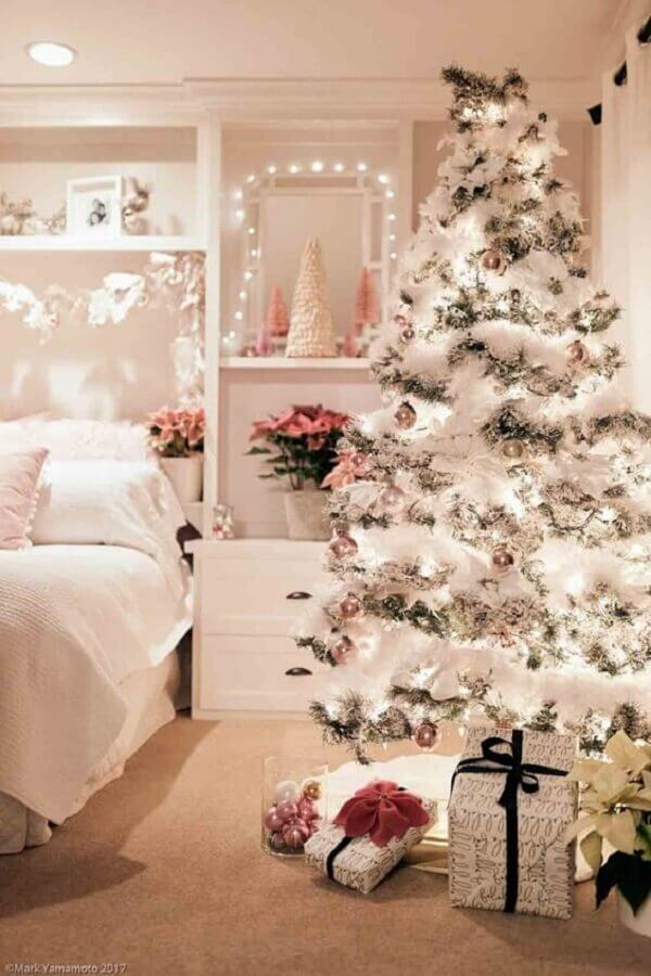 room decorated with silver Christmas party for white Christmas tree Photo Pinterest