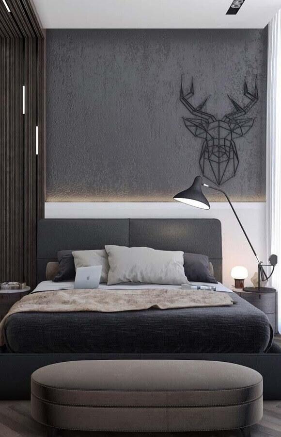 quarto moderno decorado com cabeceira casal cinza escuro Foto Home Fashion Trend