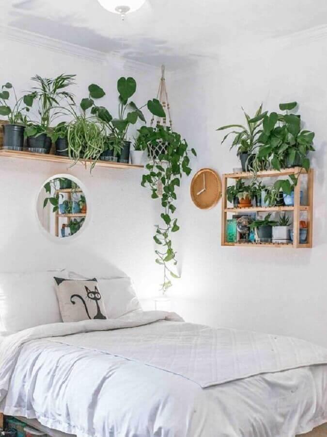 quarto simples decorado com prateleira de madeira para plantas  Foto Terrários & Suculentas