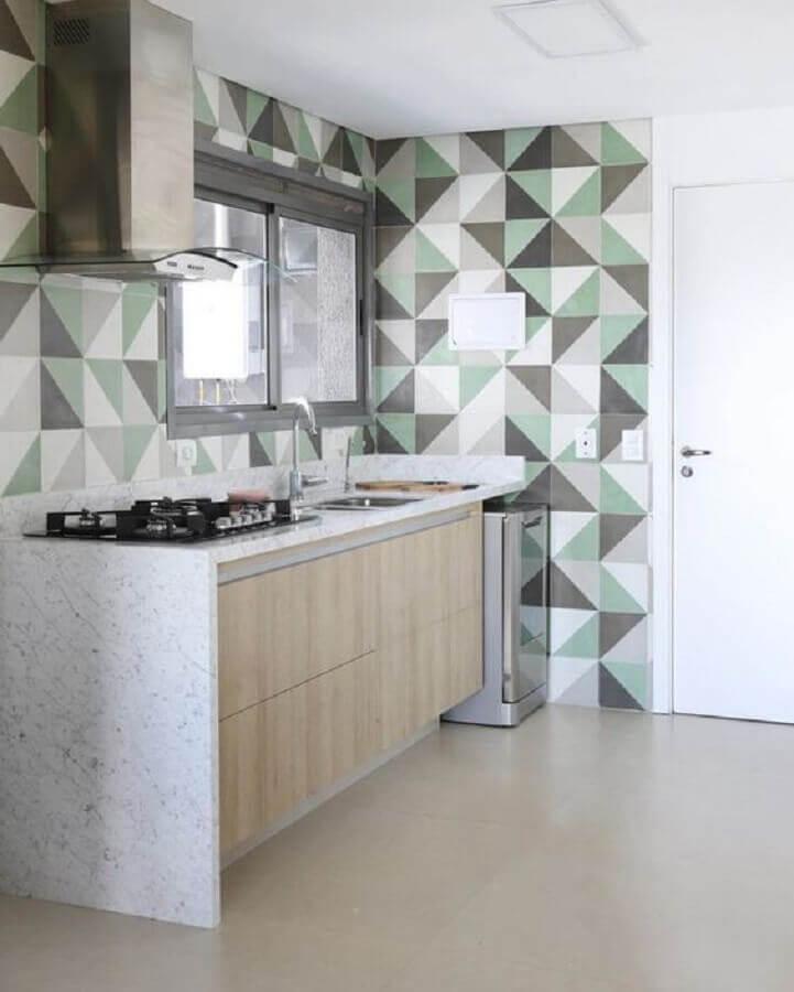 revestimento de parede geométrica para decoração de cozinha Foto Pinterest