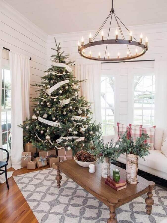 living room decorated with large Christmas tree Photo Home Fashion Trend