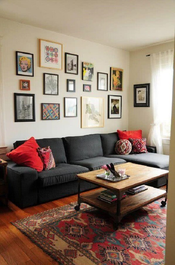 sofa, 3-seater with chaise lounge home living room simple coffee table-of-wood-Photo by Apartment Therapy