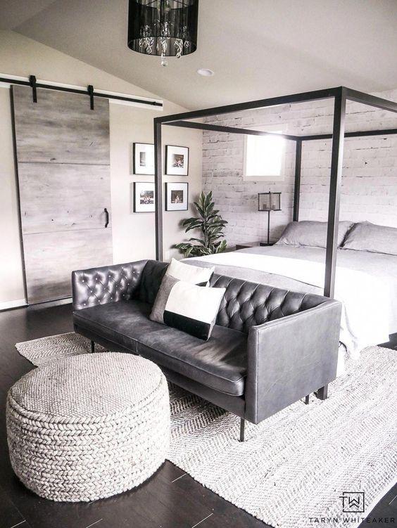 Sofá para quarto cinza e moderno