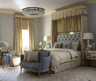 Sofá para quarto clássico azul e bege