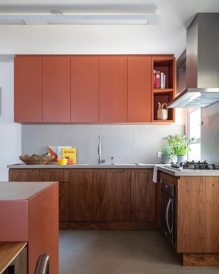 tons terrosos para decoração de cozinha simples  Foto Pinterest