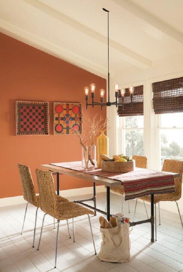 tons terrosos para parede de sala de jantar simples  Foto Pinterest