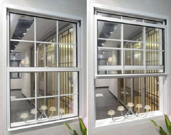 A janela guilhotina alumínio é muito utilizada em casas