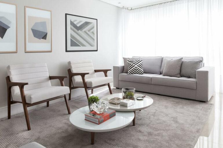 Conjunto de mesa de centro redonda branca para sala de estar