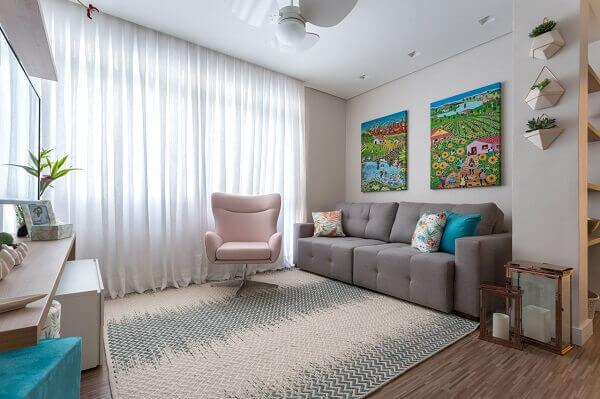 Conjunto de quadros coloridos para sala de TV com ilustração delicada