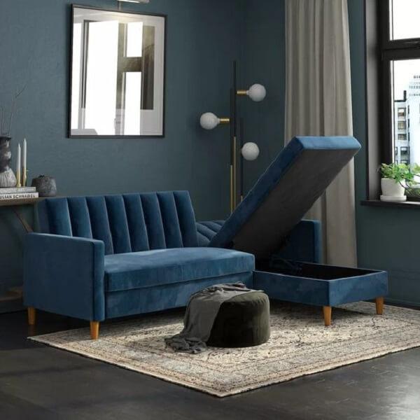 Cor e sofisticação com esse sofá baú azul