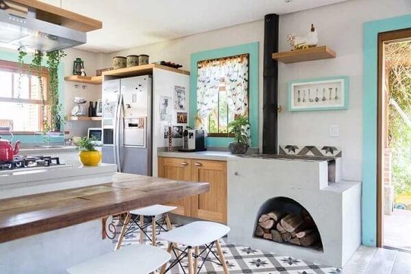 Cozinha rústica clean com fogão à lenha