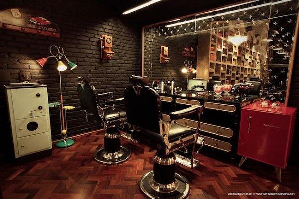 Decoração de barbearia moderna com iluminação especial