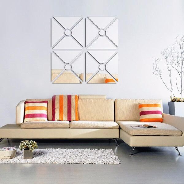 Espelho quadrado decorativo com círculo central