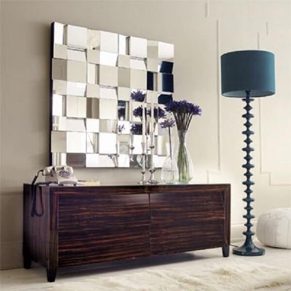 Espelho quadrado grande decorativo para sala