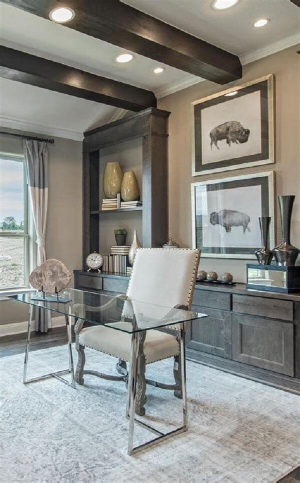 Mesa para Mesa para escritório com tampo de vidro e base metálica