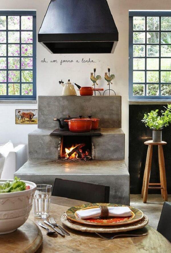 Modelo de cozinha com fogão à lenha cozinha dinâmica e funcional
