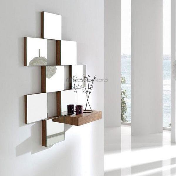 Modelo engenhoso de espelho quadrado com prateleira
