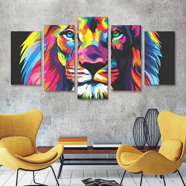 O clássico quadro leão colorido para decoração