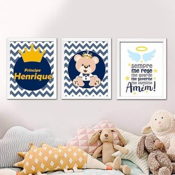 O quadro colorido para quarto de bebê tem como tema central o nome da criança