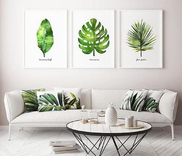 Os quadros coloridos para sala de estar trazem um toque da natureza para dentro do ambiente