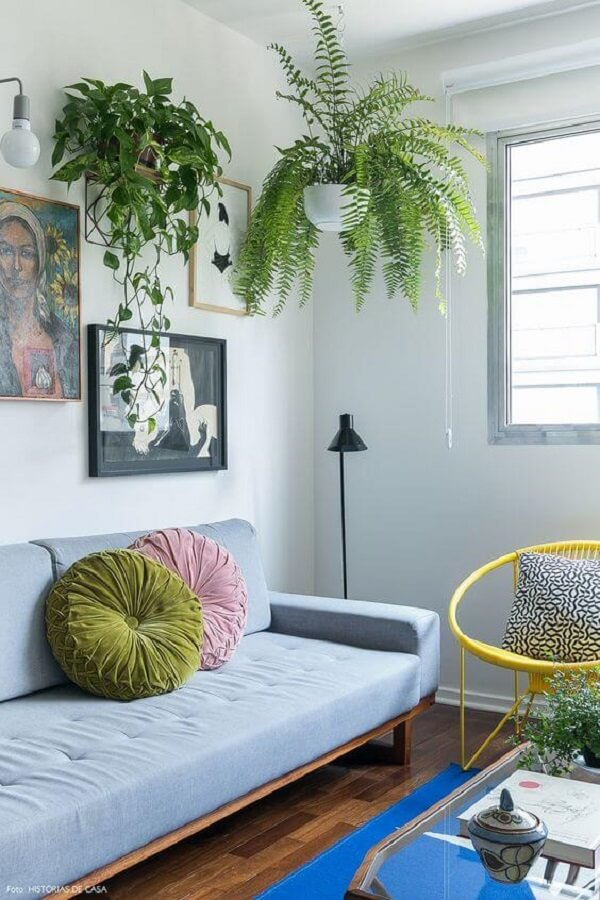 Os vasos suspensos para plantas deixam a sala de estar charmosa