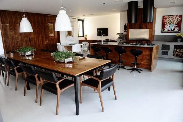Projeto para quem deseja uma cozinha moderna com fogão à lenha