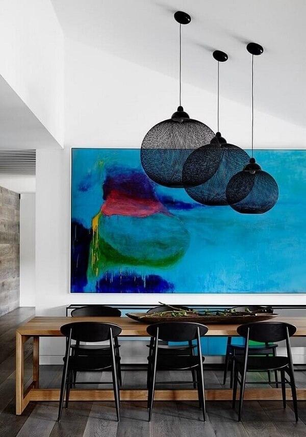 Quadro colorido abstrato azul para decoração de sala de jantar