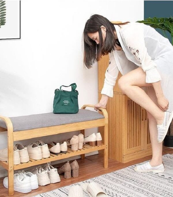 Sapateira para hall de entrada apartamento de madeira
