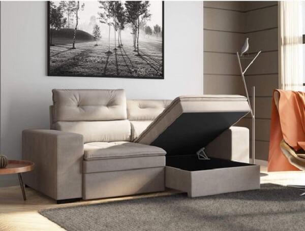 Sofá baú retrátil para decoração neutra