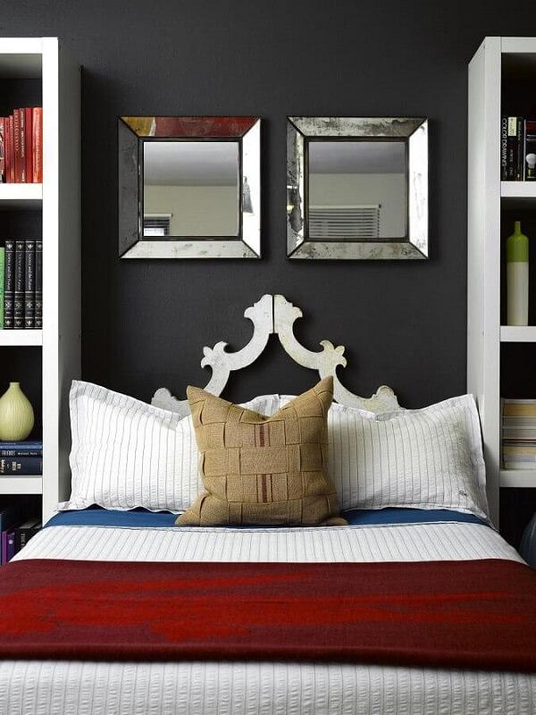 Utilize o espelho quadrado para quarto e decore a cabeceira da cama