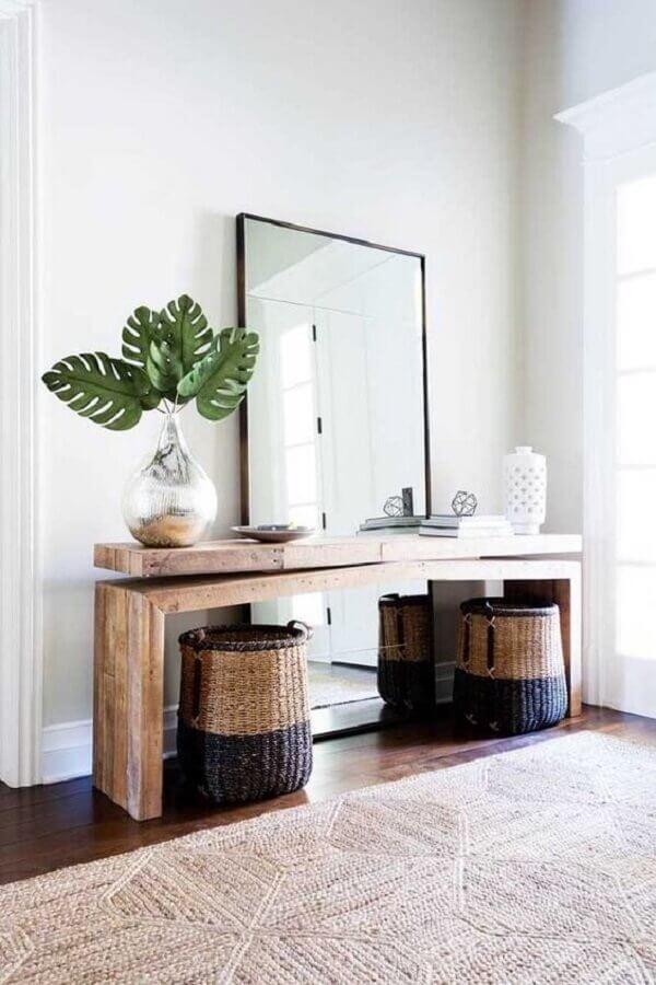 aparador para hall de entrada com espelho grande Foto Pinterest