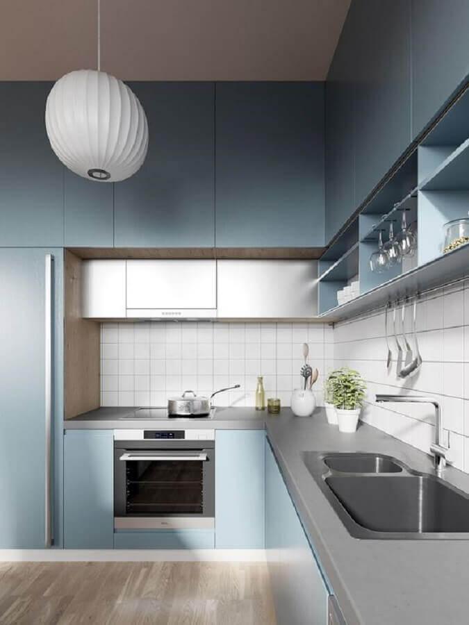 armário de cozinha planejado azul moderno Foto Behance