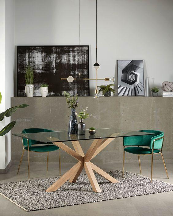 Base para mesa de vidro com poltrona verde