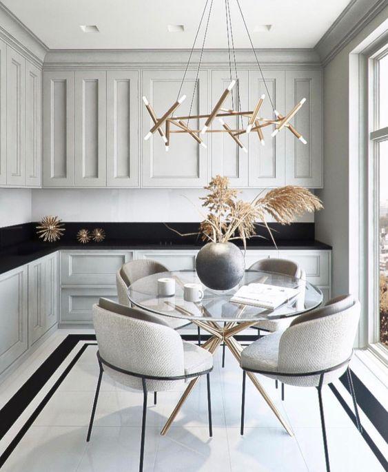 Base para mesa de vidro de ferro na cozinha