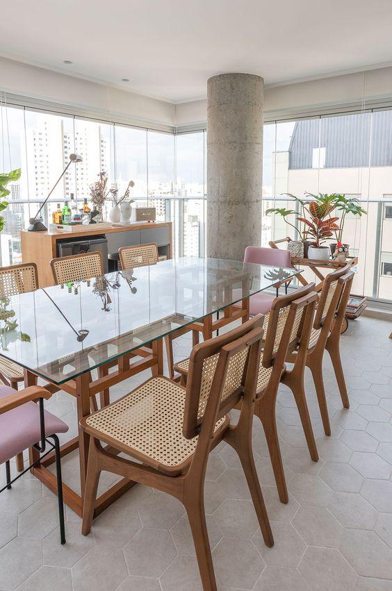 Base para mesa de vidro de madeira