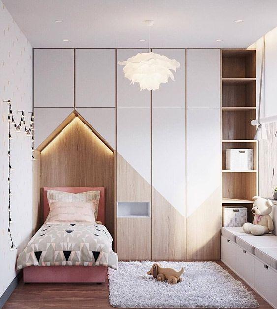 Cabeceira casinha com armários planejados