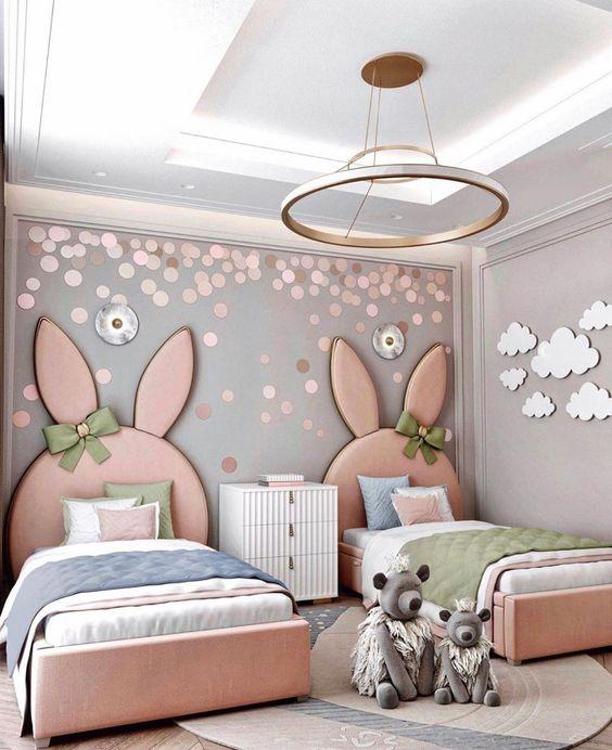 Cabeceira infantil de coelhos